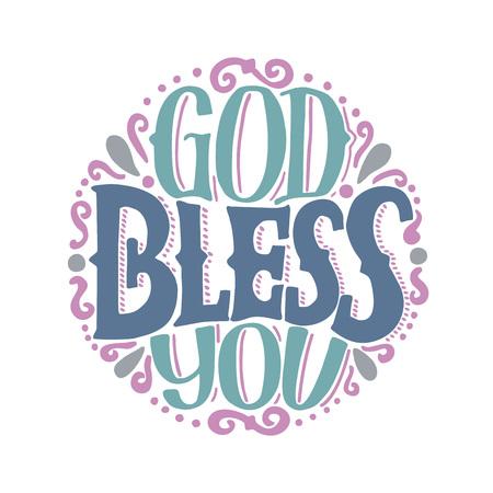 Ręcznie wykonany napis God bless you wykonany na okrągłym. Tło biblijne. Plakat chrześcijański. Karta. Inspirujące cytaty. Grafika. Wydruk Pisma Świętego. Zabytkowe