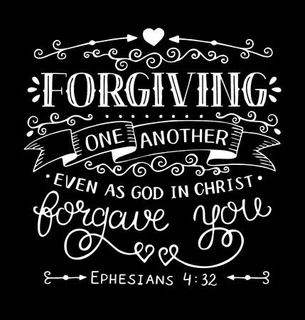 Lettrage à la main Se pardonner les uns les autres comme Dieu en Christ vous a pardonné. Verset de la Bible. Affiche chrétienne. Nouveau Testament. Les raisins. Impression des Écritures. Citation.