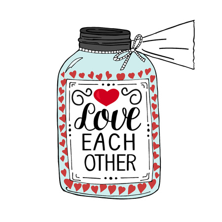 Hand lettering Love each other, made on pot with hearts. Christian Poster. Biblical background. Declaration of love. Valentine s day. Scripture. Card. Wedding. Illustration