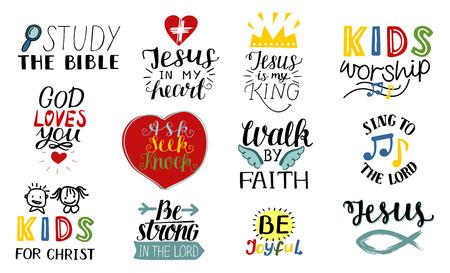 Set di 12 citazioni cristiane scritte a mano Gesù è il mio re, studia la Bibbia, cammina per fede, ministero per bambini, canta al Signore, sii gioioso, forte, adora.
