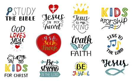 Set van 12 handschrift christelijke citaten Jezus is mijn koning, bestudeer de bijbel, wandel door geloof, kinderbediening, zing voor de heer, wees vreugdevol, sterk, aanbidding.