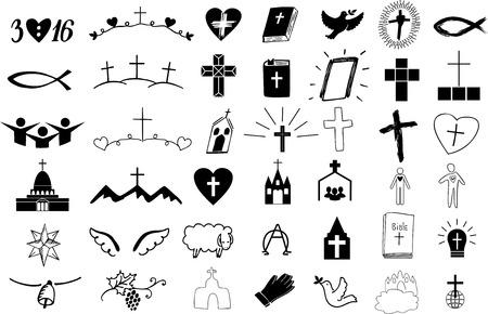 Satz von 42 christlichen Symbolen.