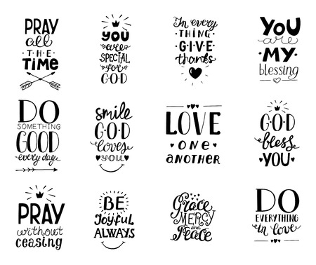 Set of 12 Hand lettering christian quotesYou blessings, Do good every day, Grace, mercy,peace, Love one another, Pray,God bless you, Give thanks. Banque d'images - 114085821