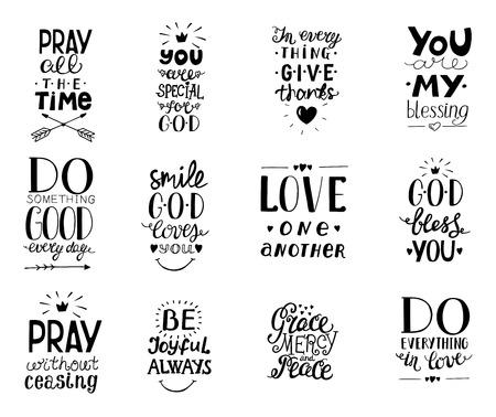 Zestaw 12 ręcznie napisów chrześcijańskich cytatów Błogosławieństwa, czyń dobro każdego dnia, łaski, miłosierdzia, pokoju, kochajcie się nawzajem, módlcie się, niech Bóg was błogosławi, dziękujcie. Ilustracje wektorowe