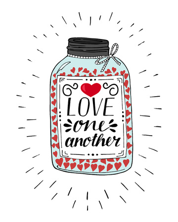 Hand lettering Love one another, made on pot with hearts. Christian Poster. Biblical background. Declaration of love. Valentine s day. Scripture print. Card. Wedding. Illustration