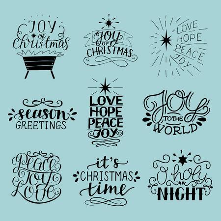 Set of 9 Christmas inscriptions with lettering O holy night. Joy, hope, love, peace. Season greetings.