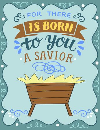 Scritte a mano Perché è nato per te un salvatore con la mangiatoia