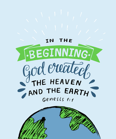 Hand lettering with bible verse In the beginning God created the heaven and earth. Genesis Illusztráció