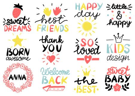 Logotipo de 12 niños con letra Feliz día. Dulces sueños. Mejores amigos. Nacido increíble. Gracias. Muy enamorado. Diseño infantil. Anna. Bienvenido de nuevo.