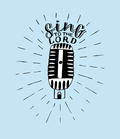 Mano deletreado Canta al Señor, realizado sobre fondo azul con micrófono. Ilustración de vector