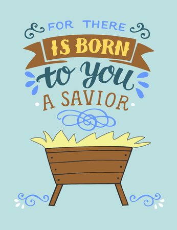 Bible Christmas lettering For there is born to you a Savior. Biblical background. Christian poster. Greeting card. Scripture print. Quote