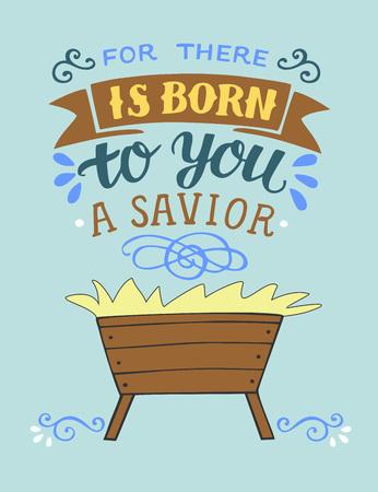 Letras de Navidad de la Biblia Porque te ha nacido un Salvador. Trasfondo bíblico. Cartel cristiano. Tarjeta de felicitación. Impresión de la escritura. Cita