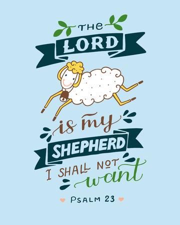 Rotulación a mano y versículo bíblico El Señor es mi pastor con ovejas. Salmo 23