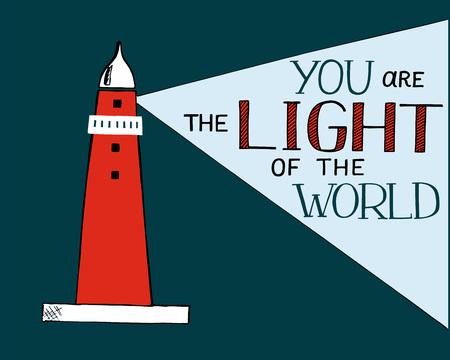 Lettrage à la main et verset de la bible Vous la lumière du monde, fait avec balise. Vecteurs