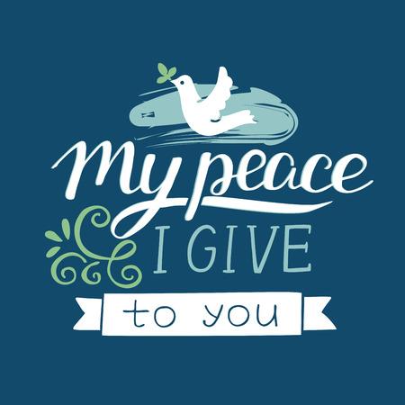 Lettrage à la main avec des versets bibliques Ma paix je vous donne sur fond bleu.