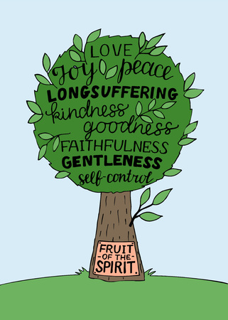 Hand lettering with bible verse The fruit of the Spirit with tree.