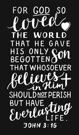 Golden Bible verse John 3 16 For God so loved the world, made hand lettering with heart and cross on black background