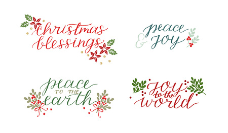 Collection with 4 Holiday cards made hand lettering Christmas blessings Peace to the earth. Joy to world.