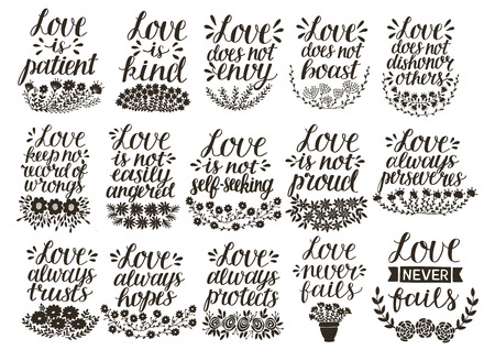 Set of 15 hand lettering quotes about love from Corinthians . Иллюстрация