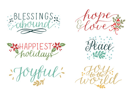 Collection with 6 colorful Holiday cards made hand lettering Blessings abound. Peace. Joy to the world. Joyful. Hope and love.