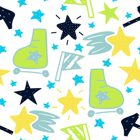 Baby seamless pattern with stahs and roller skates Stock Photo