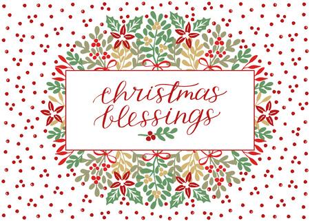 Kerstkaart met inscriptie Kerstzegeningen, handgeschreven letters op de achtergrond met rode stippen