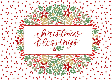 Tarjeta navideña con inscripción bendiciones navideñas, letras hechas a mano sobre fondo con puntos rojos