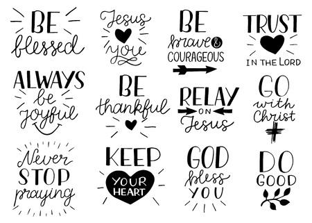 Set von 12 Hand Schriftzug christliche Zitate Seien Sie stark und mutig. Jesus liebt dich. Geh mit Christus. Tue Gutes. Höre nie auf zu beten. Behalte dein Herz. Vertrauen Sie auf den Herrn.