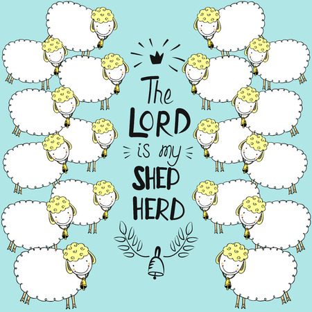 Hand lettering and bible verse The Lord is my shepherd with sheeps on blue background.