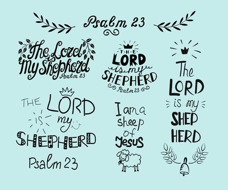 Con letras a mano Salmo 23 e inscripción El Señor es mi pastor