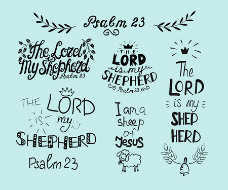 Set with hand lettering Psalm 23 and inscription The Lord is my shepherd