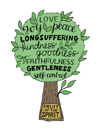 Hand lettering The fruit of the Spirit is joy, love, peace, longsuffering, kindness, goodness, faithfullness, gentleness, self-control made on tree. 일러스트