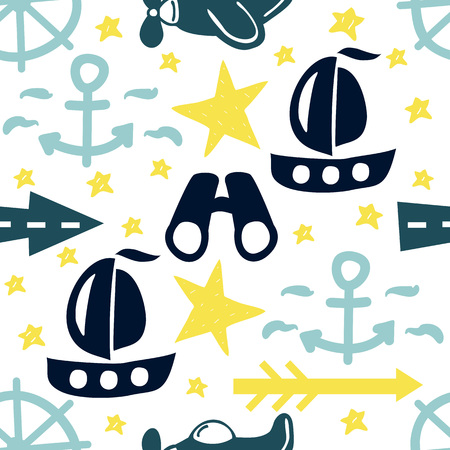 Seamless pattern with stars, ships, anchors and binoculars. Baby background