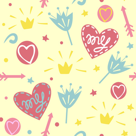 Seamless pattern with crowns, hearts, flowers. Baby Girl. Blue and pink background