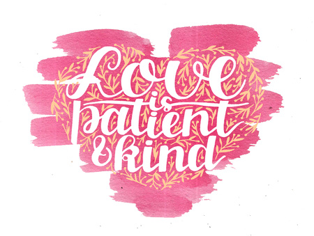 Hand lettering Love is patient and kind with leaves on watercolor pink background. Stock fotó