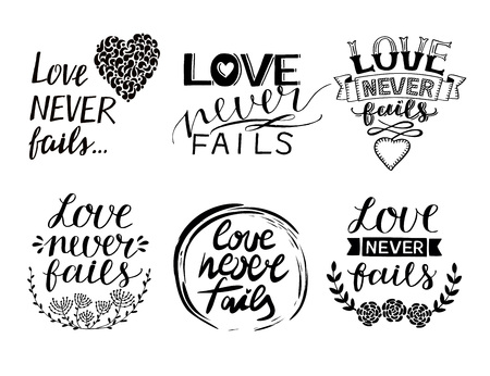 Set of 6 Hand lettering quotes Love never fails . Christian Poster. Biblical background. Declaration of love. Valentine s day. Scripture prints. Motivational quote. Graphic