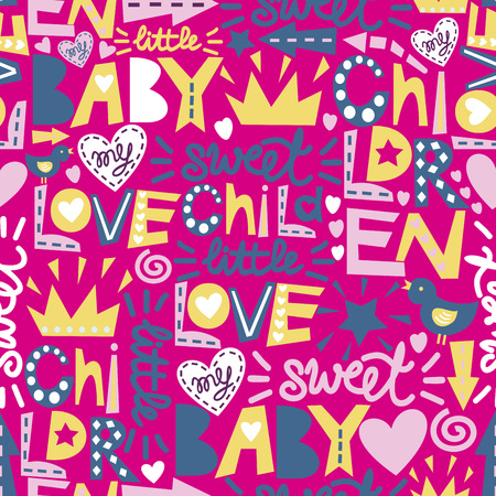 Seamless baby pattern with words and inscriptions Love, Baby, Sweet. Children s background. Ilustração