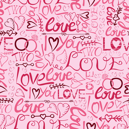 Seamless pattern with hand lettering and inscriptions I love you Two with rings, hearts and arrows.Valentine s day. Gift wrapping. Wedding. Ilustração