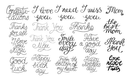 19 hand-lettering quotes I love you, Happy birthday, Thank you, The best mom, Congratulations. Card. Motivational phrases