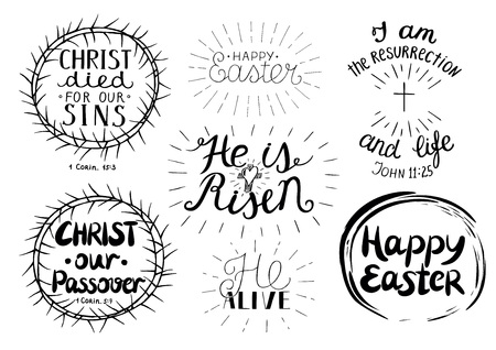 Set of 7 hand lettering quotes about Easter. He is risen. Christ our Passover. Celebrate. Poster. Congratulations. Card. Banner Greeting