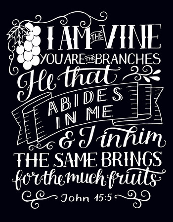 Hand lettering with bible verse I am the vine, you are the branches on black background.