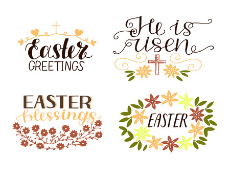 Set of 4 hand lettering quotes. He is risen. Easter blessings.
