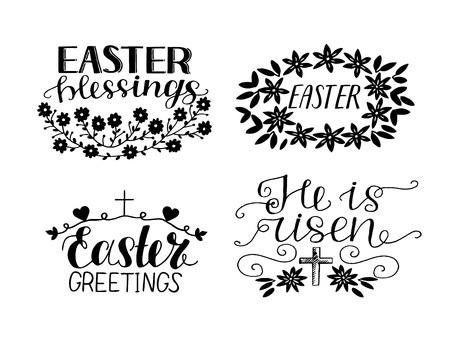 Ensemble de 4 citations de lettrage à la main. Il est ressuscité. Bénédictions de Pâques. Vecteurs