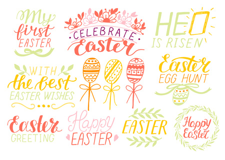 Set of 9 hand lettering quotes about Easter. He is risen. Egg hunt. Celebrate. Poster. Congratulations. Card. Banner Greeting Иллюстрация