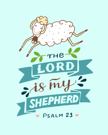 Hand lettering with sheep The Lord is my shepherd. Illustration
