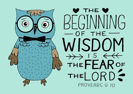 Handbeschriftung und Bibelvers der Anfang der Weisheit die Furcht des Herrn, gemacht mit Eule. Vektorgrafik