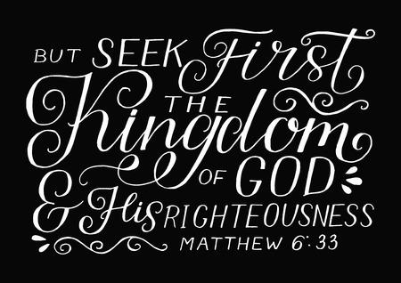 Rotulación a mano con versículo bíblico, pero busca primero el Reino de Dios y su justicia sobre fondo negro