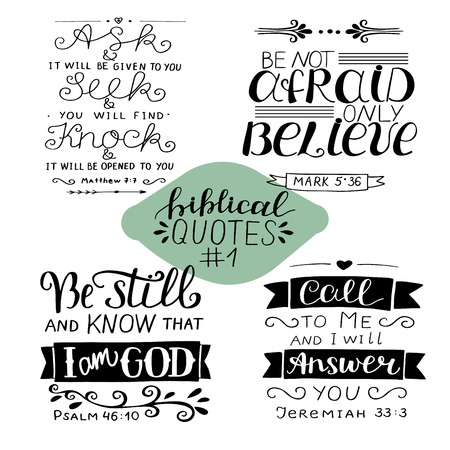 Hand lettering Collection number 1 with 4 Bible verses.