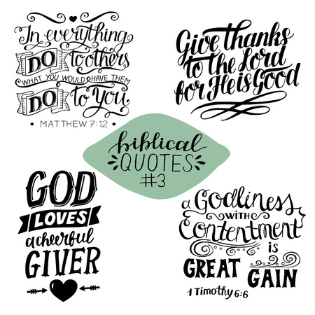Collection 3 with 4 Bible verses. Do to others. Give thanks to the Lord. Giver. Great gain. Biblical background. Christian poster. Modern calligraphy Scripture print Motivational quotes Ilustração