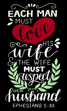 Hand lettering Each man must love his wife. Biblical background. Christian poster. Scripture print. Modern calligraphy. Card. Motivational quote. Bible verse. Vintage Ilustração